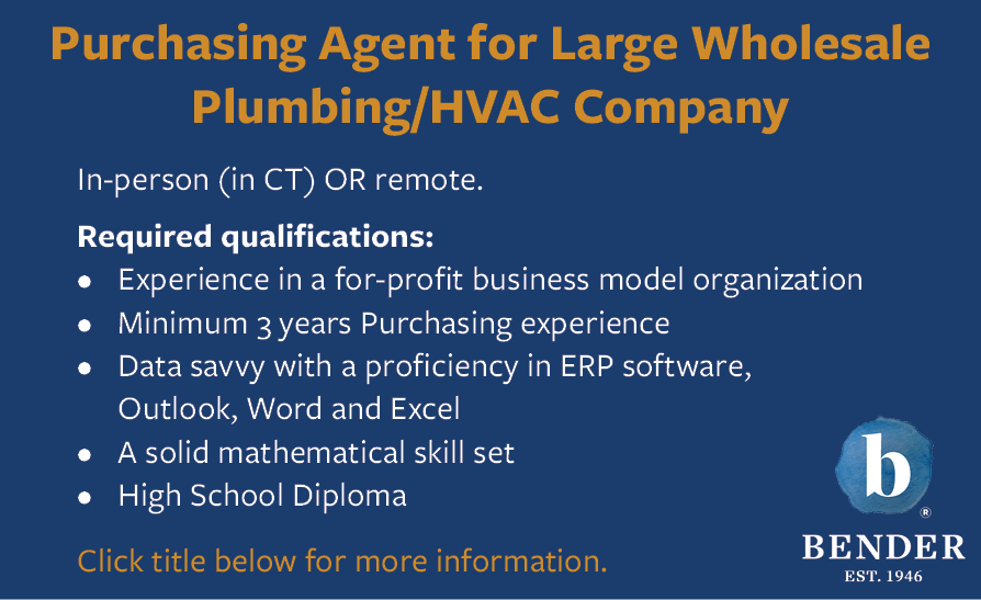 PURCHASING AGENT FOR LARGE WHOLESALE PLUMBING / HVAC COMPANY