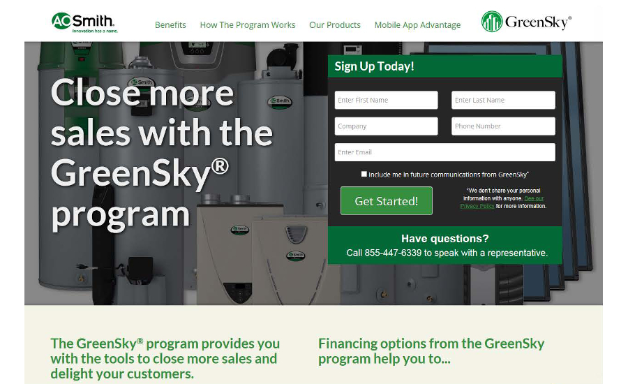 A. O. Smith and GreenSky's consumer financing program