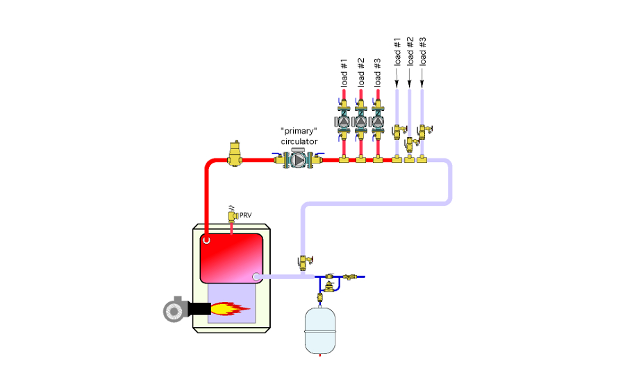 Modified primary/secondary hydronic piping system